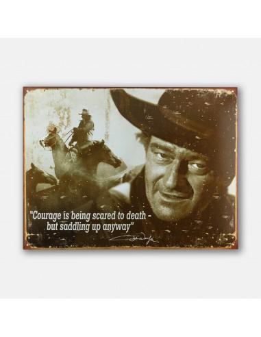 """16"""" John Wayne Courage Tin Metal Sign"""